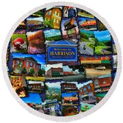 Round Beach Towel featuring the digital art Welcome To Harrison Arkansas by Kathy Tarochione