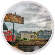 Round Beach Towel featuring the photograph Welcome To Kennebunkport by Rick Berk