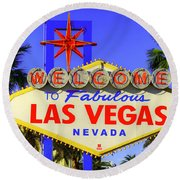 Welcome To Las Vegas Round Beach Towel by Anthony Sacco