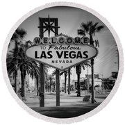 Welcome To Las Vegas Series Holga Black And White Round Beach Towel