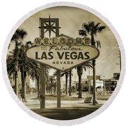 Welcome To Las Vegas Series Sepia Grunge Round Beach Towel