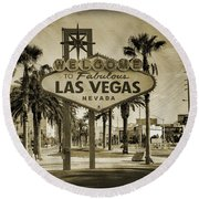 Welcome To Las Vegas Series Sepia Grunge Round Beach Towel