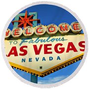 Welcome To Las Vegas Sign Round Beach Towel by Garry Gay