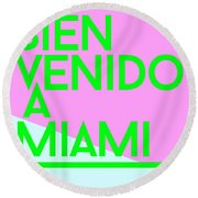 welcome to Miami Round Beach Towel by Cortney Herron