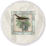Welcome To Our Nest - Vintage Bird W Egg Round Beach Towel by Audrey Jeanne Roberts