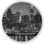 Welcome To Penn's Landing Bw Round Beach Towel by Susan Candelario