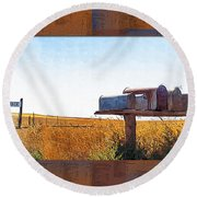 Welcome To Portage Population-6 Round Beach Towel