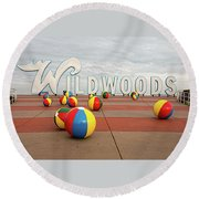 Welcome To The Wildwoods Round Beach Towel