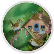 Welcome Wrens Round Beach Towel