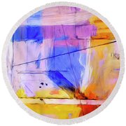 Round Beach Towel featuring the painting Welder by Dominic Piperata
