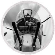 Well Armed Flying Fortress Round Beach Towel by Randy Scherkenbach
