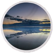 Round Beach Towel featuring the photograph Wells Beach Reflections by Rick Berk