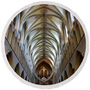 Wells Cathedral Ceiling  Round Beach Towel
