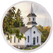 Welsh Road Church In Fall II Round Beach Towel