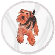Welsh Terrier Or Schnauzer Watercolor Painting By Kmcelwaine Round Beach Towel