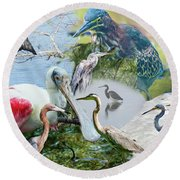 Welter Of Waterbirds Round Beach Towel