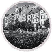 Round Beach Towel featuring the photograph Wenceslas Square In Prague by Jenny Rainbow