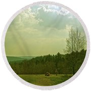 Round Beach Towel featuring the photograph Wendover Woods by Anne Kotan