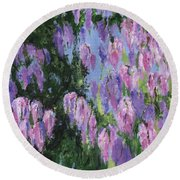 Round Beach Towel featuring the painting Wendy's Wisteria by Jamie Frier