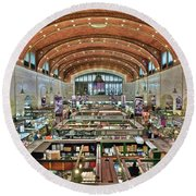 Round Beach Towel featuring the photograph West 25th Street Market by Frozen in Time Fine Art Photography