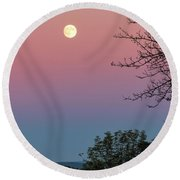 Round Beach Towel featuring the photograph West Brattleboro Full Moon by Tom Singleton