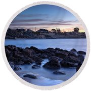 West Cliff Santa Cruz Sunrise Round Beach Towel