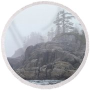 West Coast Landscape Ocean Fog I Round Beach Towel
