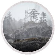 West Coast Landscape Ocean Fog IIi Round Beach Towel