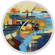 Round Beach Towel featuring the painting West End Blues by Erin Fickert-Rowland