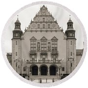 West Facade Of Adam Mickiewicz University Poznan Poland Round Beach Towel