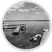 Round Beach Towel featuring the photograph West Hawk Lake by Cendrine Marrouat