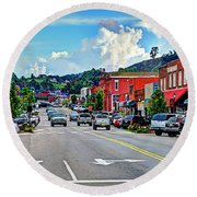 West Jefferson Streetscape Round Beach Towel by Dale R Carlson