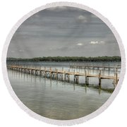 West Lake Docks Round Beach Towel