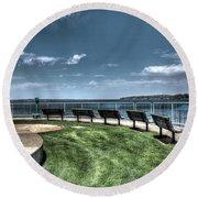 West Lake Okoboji Pier Round Beach Towel