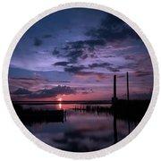 West Lake Toho Blu Indigo Sunset Round Beach Towel