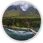 West Maui Mountains  Round Beach Towel by James Roemmling
