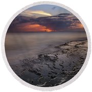 West Oahu Sunset Round Beach Towel