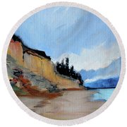 Round Beach Towel featuring the painting West Of Dungeness by Nancy Merkle