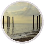 West Pier Supports Round Beach Towel