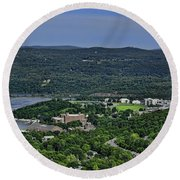West Point From Storm King Overlook Round Beach Towel