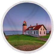 Round Beach Towel featuring the photograph West Quoddy Head Light At Dusk by Rick Berk