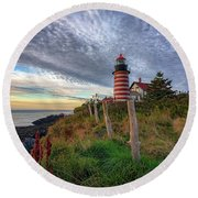 Round Beach Towel featuring the photograph West Quoddy Head Light Station by Rick Berk