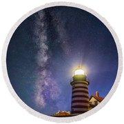 West Quoddy Head Lighthouse Round Beach Towel