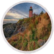 Round Beach Towel featuring the photograph West Quoddy Head Lighthouse by Rick Berk