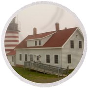 West Quoddy In Fog Round Beach Towel