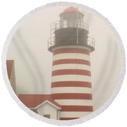 West Quody Head Lighthouse Round Beach Towel