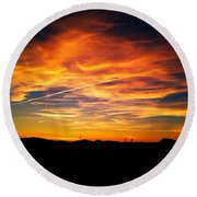West Side Of A Sunset I Round Beach Towel