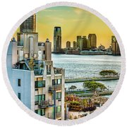 Round Beach Towel featuring the photograph West Village To Jersey City Sunset by Chris Lord