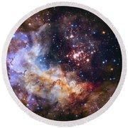 Westerlund 2 - Hubble 25th Anniversary Image Round Beach Towel by Adam Romanowicz