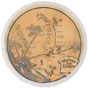 Western Air Express - Vintage Illustrated Vignette Of The Air Routes - North America Round Beach Towel
